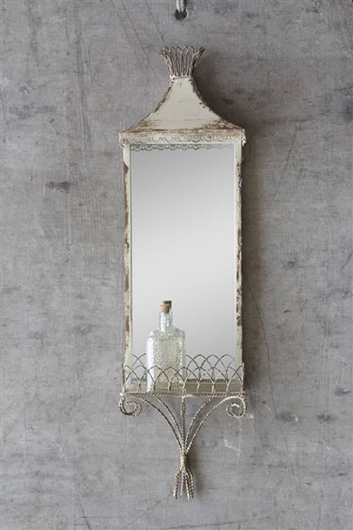 Wall Mirror With Shelf cream mirror with shelf, decorative vertical mirror, shabby chic