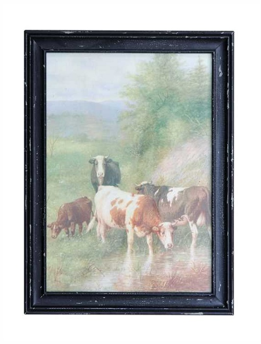 Vintage Reproduction of Cows in the meadow
