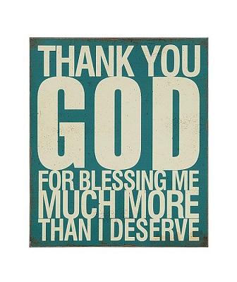 """Thank You God"" wall art"