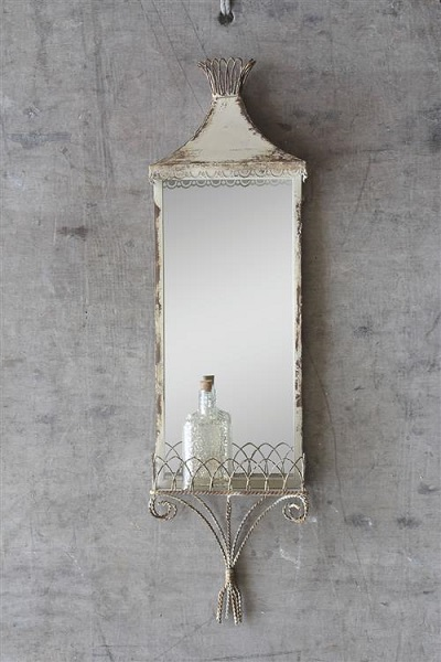 Cream Mirror with Shelf - Distressed