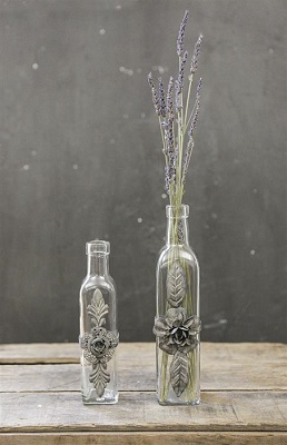 Glass Bottle with Metal Flower