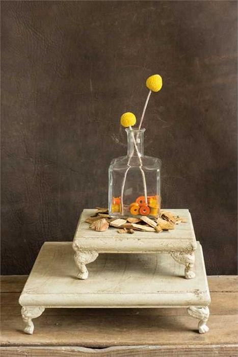 Distressed Cream Pedestals - Set of two