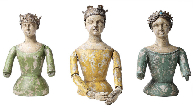 Blue and Green Santos Busts with Crown