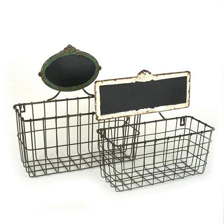 vintage wire baskets, wire chalkboard baskets